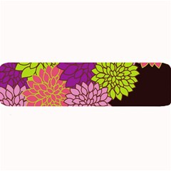 Floral Card Template Bright Colorful Dahlia Flowers Pattern Background Large Bar Mats