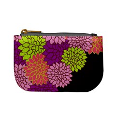 Floral Card Template Bright Colorful Dahlia Flowers Pattern Background Mini Coin Purses