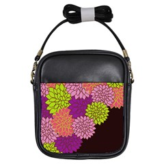 Floral Card Template Bright Colorful Dahlia Flowers Pattern Background Girls Sling Bags by Nexatart