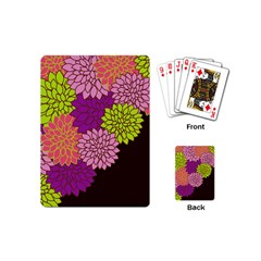 Floral Card Template Bright Colorful Dahlia Flowers Pattern Background Playing Cards (mini)