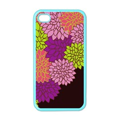 Floral Card Template Bright Colorful Dahlia Flowers Pattern Background Apple Iphone 4 Case (color) by Nexatart