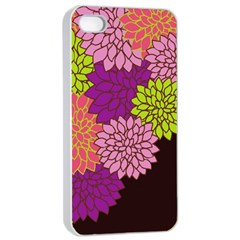 Floral Card Template Bright Colorful Dahlia Flowers Pattern Background Apple Iphone 4/4s Seamless Case (white)