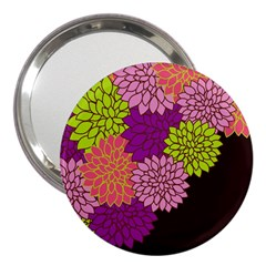 Floral Card Template Bright Colorful Dahlia Flowers Pattern Background 3  Handbag Mirrors