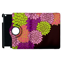 Floral Card Template Bright Colorful Dahlia Flowers Pattern Background Apple Ipad 2 Flip 360 Case