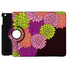 Floral Card Template Bright Colorful Dahlia Flowers Pattern Background Apple Ipad Mini Flip 360 Case