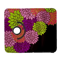 Floral Card Template Bright Colorful Dahlia Flowers Pattern Background Galaxy S3 (flip/folio)