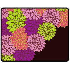 Floral Card Template Bright Colorful Dahlia Flowers Pattern Background Double Sided Fleece Blanket (medium)