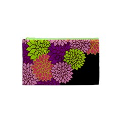 Floral Card Template Bright Colorful Dahlia Flowers Pattern Background Cosmetic Bag (xs) by Nexatart