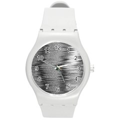 Rectangle Abstract Background Black And White In Rectangle Shape Round Plastic Sport Watch (m)