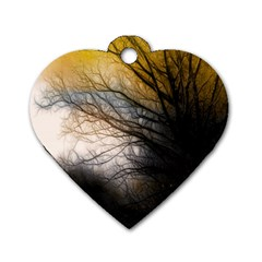 Tree Art Artistic Abstract Background Dog Tag Heart (two Sides) by Nexatart