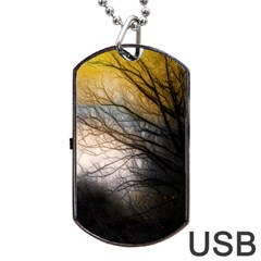 Tree Art Artistic Abstract Background Dog Tag Usb Flash (one Side) by Nexatart