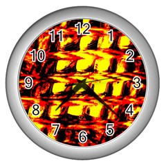 Yellow Seamless Abstract Brick Background Wall Clocks (silver)  by Nexatart