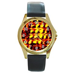 Yellow Seamless Abstract Brick Background Round Gold Metal Watch