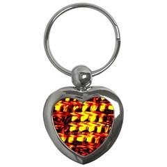 Yellow Seamless Abstract Brick Background Key Chains (heart)  by Nexatart