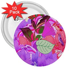 Abstract Design With Hummingbirds 3  Buttons (10 Pack)