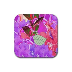Abstract Design With Hummingbirds Rubber Square Coaster (4 Pack)  by Nexatart