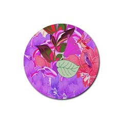 Abstract Design With Hummingbirds Rubber Coaster (round)  by Nexatart