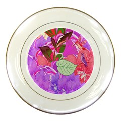 Abstract Design With Hummingbirds Porcelain Plates by Nexatart