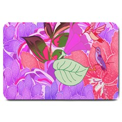 Abstract Design With Hummingbirds Large Doormat  by Nexatart