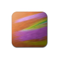Metallic Brush Strokes Paint Abstract Texture Rubber Square Coaster (4 Pack)  by Nexatart