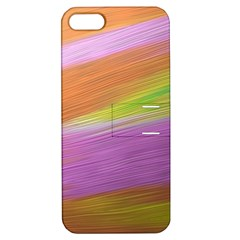 Metallic Brush Strokes Paint Abstract Texture Apple Iphone 5 Hardshell Case With Stand by Nexatart