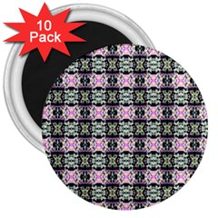 Colorful Pixelation Repeat Pattern 3  Magnets (10 Pack)  by Nexatart