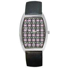 Colorful Pixelation Repeat Pattern Barrel Style Metal Watch by Nexatart