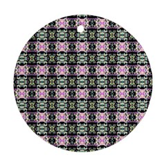 Colorful Pixelation Repeat Pattern Round Ornament (two Sides) by Nexatart