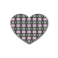 Colorful Pixelation Repeat Pattern Heart Coaster (4 Pack)  by Nexatart