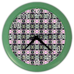 Colorful Pixelation Repeat Pattern Color Wall Clocks by Nexatart