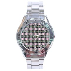 Colorful Pixelation Repeat Pattern Stainless Steel Analogue Watch by Nexatart