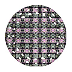 Colorful Pixelation Repeat Pattern Ornament (round Filigree) by Nexatart