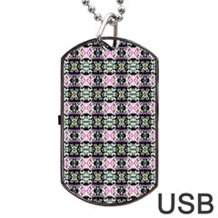 Colorful Pixelation Repeat Pattern Dog Tag Usb Flash (one Side)