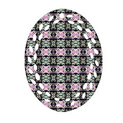 Colorful Pixelation Repeat Pattern Oval Filigree Ornament (two Sides) by Nexatart