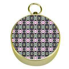 Colorful Pixelation Repeat Pattern Gold Compasses by Nexatart