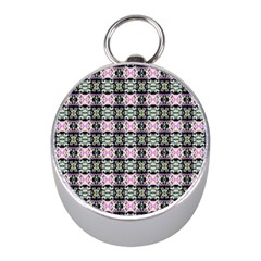 Colorful Pixelation Repeat Pattern Mini Silver Compasses by Nexatart
