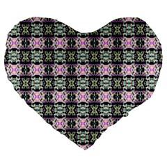 Colorful Pixelation Repeat Pattern Large 19  Premium Flano Heart Shape Cushions by Nexatart