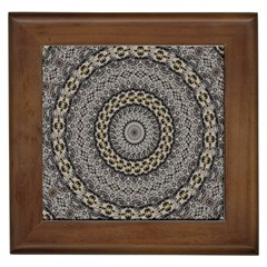 Celestial Pinwheel Of Pattern Texture And Abstract Shapes N Brown Framed Tiles