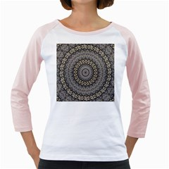 Celestial Pinwheel Of Pattern Texture And Abstract Shapes N Brown Girly Raglans by Nexatart