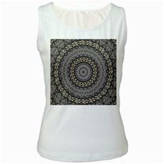 Celestial Pinwheel Of Pattern Texture And Abstract Shapes N Brown Women s White Tank Top
