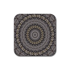 Celestial Pinwheel Of Pattern Texture And Abstract Shapes N Brown Rubber Coaster (square)  by Nexatart