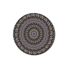 Celestial Pinwheel Of Pattern Texture And Abstract Shapes N Brown Rubber Round Coaster (4 Pack)  by Nexatart