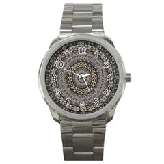 Celestial Pinwheel Of Pattern Texture And Abstract Shapes N Brown Sport Metal Watch by Nexatart