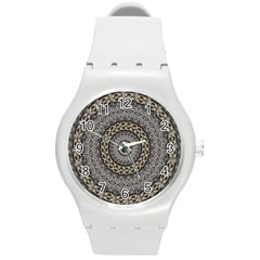 Celestial Pinwheel Of Pattern Texture And Abstract Shapes N Brown Round Plastic Sport Watch (m) by Nexatart