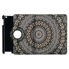 Celestial Pinwheel Of Pattern Texture And Abstract Shapes N Brown Apple Ipad 3/4 Flip 360 Case by Nexatart