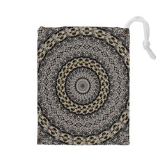 Celestial Pinwheel Of Pattern Texture And Abstract Shapes N Brown Drawstring Pouches (large)