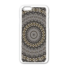 Celestial Pinwheel Of Pattern Texture And Abstract Shapes N Brown Apple Iphone 6/6s White Enamel Case by Nexatart
