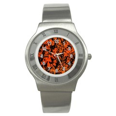 Abstract Orange Background Stainless Steel Watch by Nexatart