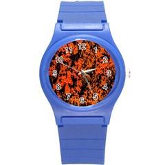 Abstract Orange Background Round Plastic Sport Watch (s) by Nexatart