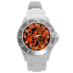 Abstract Orange Background Round Plastic Sport Watch (l)